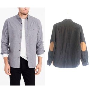 J Crew Tab Collar Suede Elbow Patch Rugged Shirt